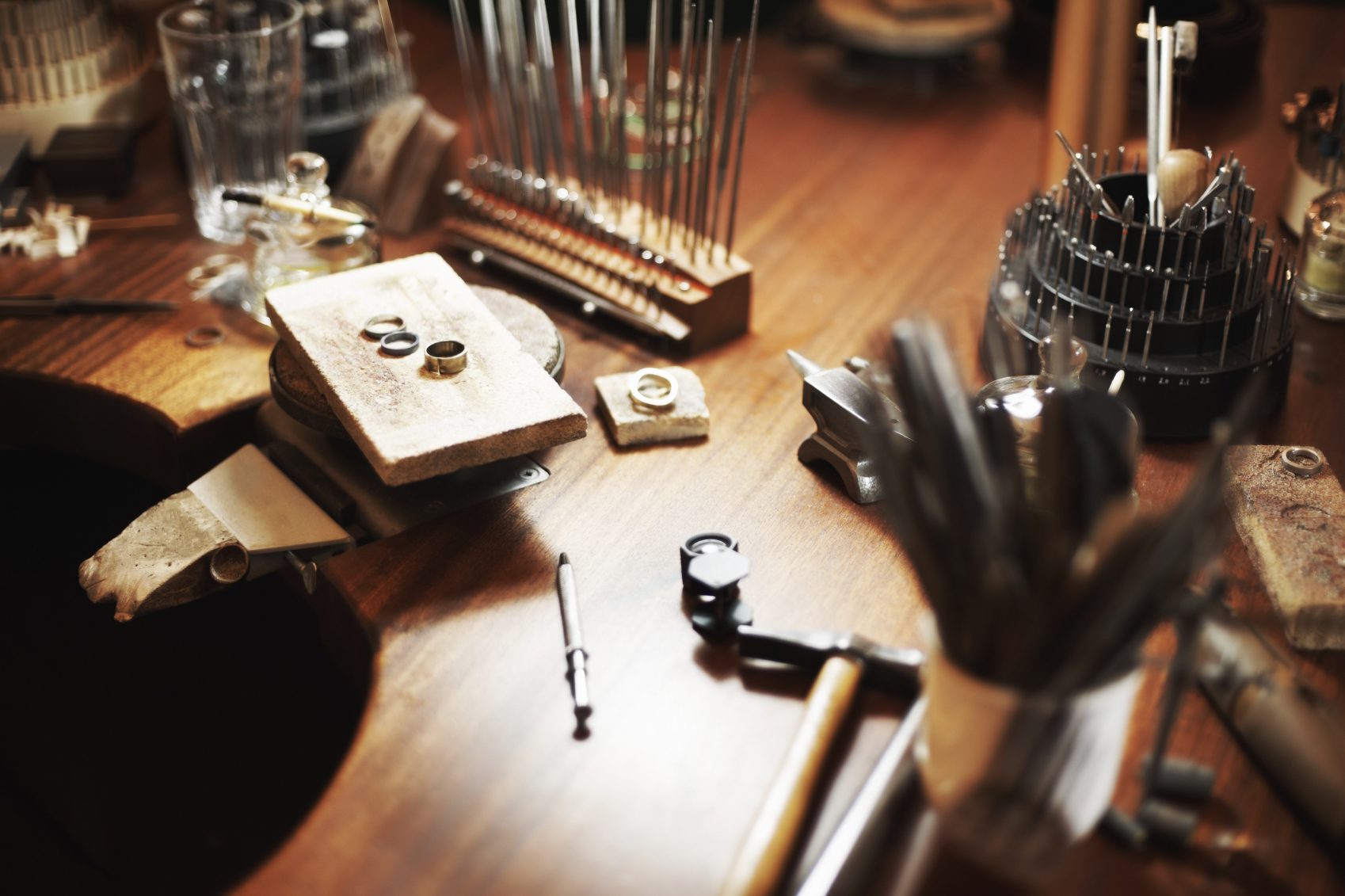 Variety of jeweler's tools in a workshop